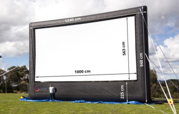 dimensions of blow up outdoor movie screen