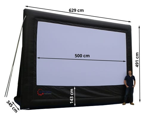 5 m wide inflatable projector screen