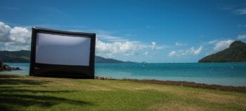 Outdoor cinema system for up to 600 guests. Hamilton island, Australia