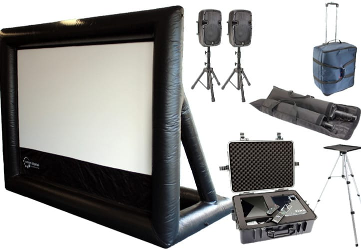 Backyard Theater Packages : HandiTheatre home  outdoor home cinema system  Inflatable screen