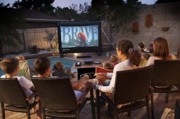 outdoor movie night by the pool