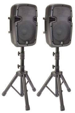 "8"" active speakers on speaker stands"