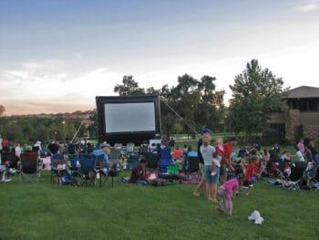 Outdoor movie night in the neighbourhood