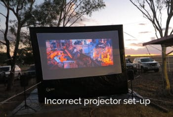 incorrect distance from the projector to the screen